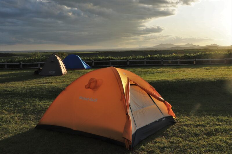 開陽台で設営したテント