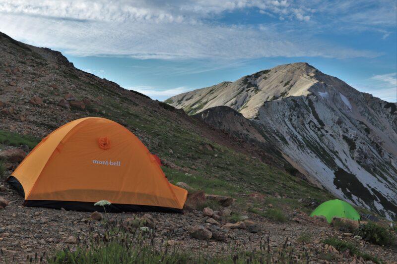 天狗山荘で設営したテント