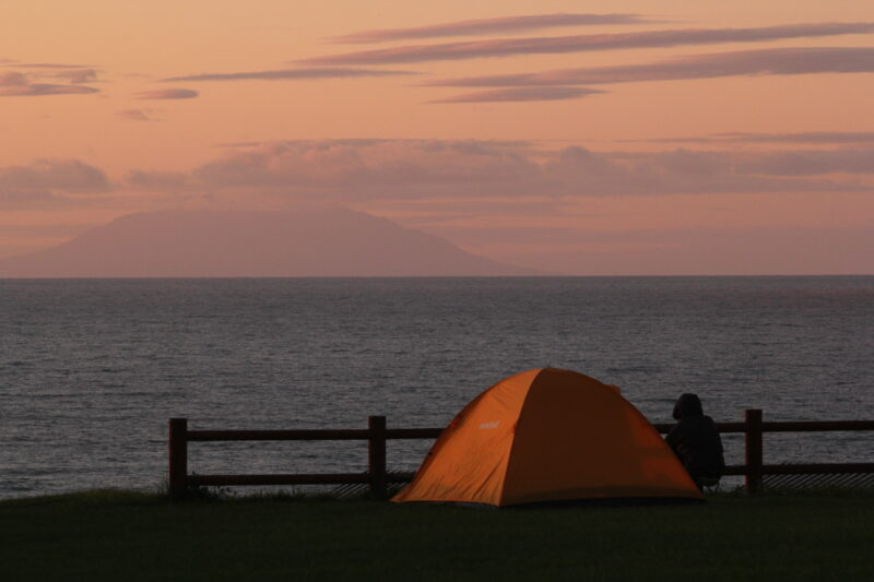 初山別キャンプ場で設営したテント